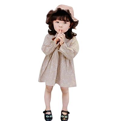 AliveGOT Spring Girl's Dress Soft Pure Cotton Floral Printed Ruffles children Dress