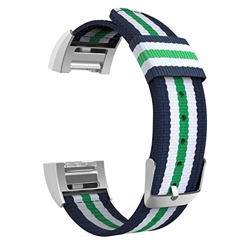 MoKo Fitbit Charge 2 Band, Fine Woven Nylon Adjustable Replacement Strap + Connector for 2016 Fitbit Charge 2 Heart Rate + Fitness Wristband, Wrist Length 5.39-8.66, Blue & White & Green