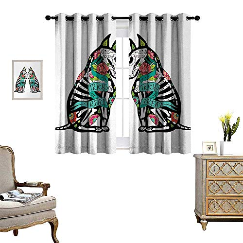 (Anyangeight Halloween Room Darkening Wide Curtains Skeleton Demon Figures Flowers and Trick or Treat Quote Ethnic Holiday Design Customized Curtains W55 x L72)