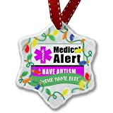 Personalized Name Christmas Ornament, Medical Alert Purple I Have Autism NEONBLOND