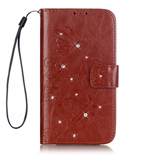 Trumpshop Smartphone Carcasa Funda Protección para Wiko Sunset 2 (Serie Diamante) + Rosado + PU Cuero Caja Protector con Cierre Magnético la Ranura la Tarjeta Choque Absorción Marrón