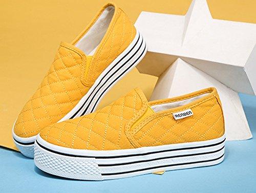 Sfnld Donna Autunno Primavera Slip On Mocassini Scarpe Sneaker Giallo