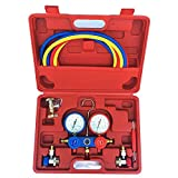Lljin 2 Way AC Manifold Gauge Set R134a r134 R410A R404A R22 w/Hoses Coupler Adapters (Ship from US)