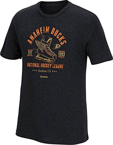 NHL Anaheim Ducks Men's Speed and Skate Tri-Blend Short Sleeve Tee, Small, Vintage Black