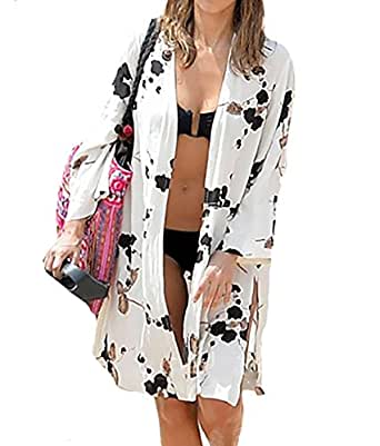 Bigbigfuture Women's Fringe Printed Chiffon Cover up Tunic Kimono Cardigan (Black Floral-Print)