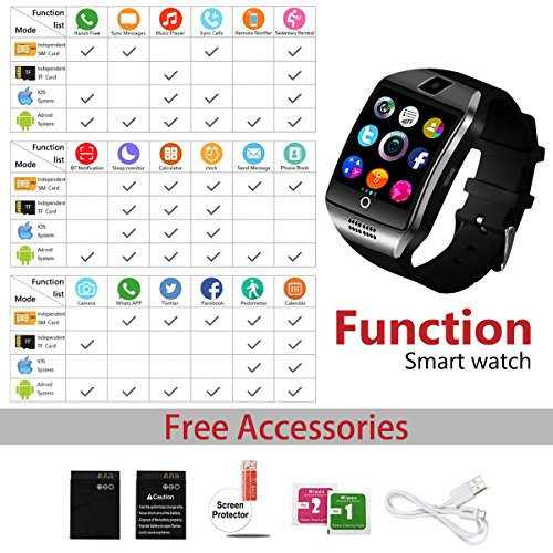 Bluetooth Smart Watch for Andriod phones, iphone Smartwatch with Camera,Waterpfoof Smart watches,Watch Phone Touchscreen for Android Samsung IOS Iphone X 8 7 6 5 Plus Men Women Youth (black-02) by Newatch (Image #5)