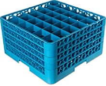 "Carlisle RG9-314 OptiClean 9-Compartment Glass Rack w/ 3 Extenders, Polypropylene, 20.88"" Length, 20.88"" Width, 8.72"" Height, Blue"