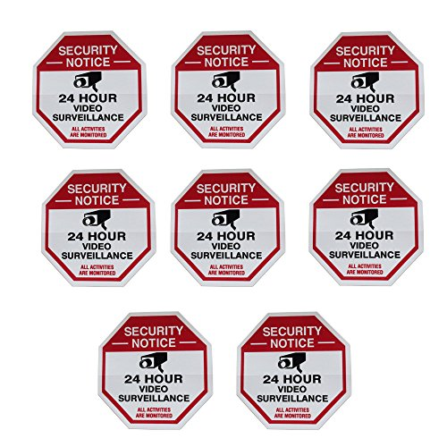 (8 Red Octagon-Shaped Video Surveillance System Security Door & Window Stickers 3 X 3 Inch Vinyl Decals)