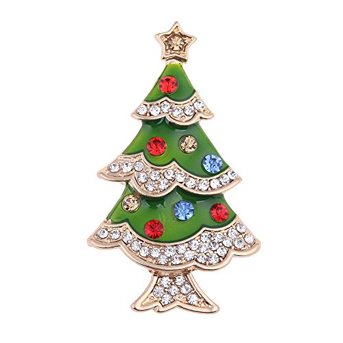Green Enamel Christmas Tree (Green Enamel Christmas Tree Brooches Rhinestone Women Sweater Scarf Clip Christmas Brooch Pins For New Year Gold)