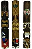 Set of 3 Hand Carved Island Style Polynesian Tiki Masks 39 In.