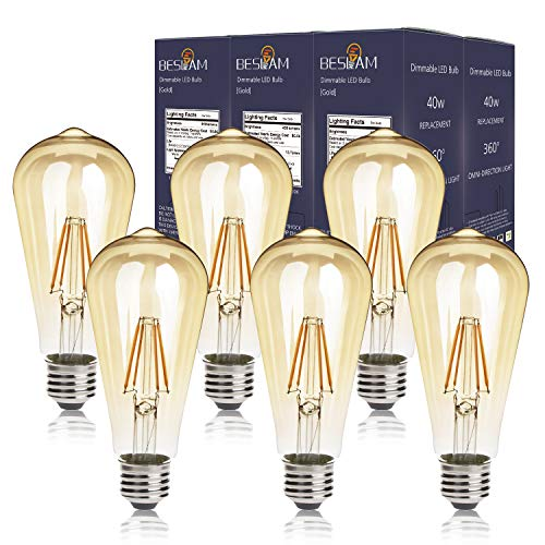 BESLAM 5.5w Dimmable LED Vintage Light Bulbs Edison LED Bulbs Squirrel Cage Filament Bulbs, ST64 (ST19) E26 Medium Screw Base, 60w Equivalent 550 Lumens, 2200K Warm Glow Amber Tinted, 6 Pack