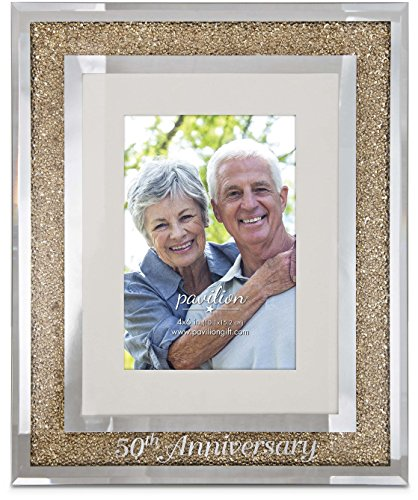 Pavilion Gift Company 85115 Glorious Occasions - 50th Anniversary Gold Crystal Mirrored 4x6 Picture Frame,