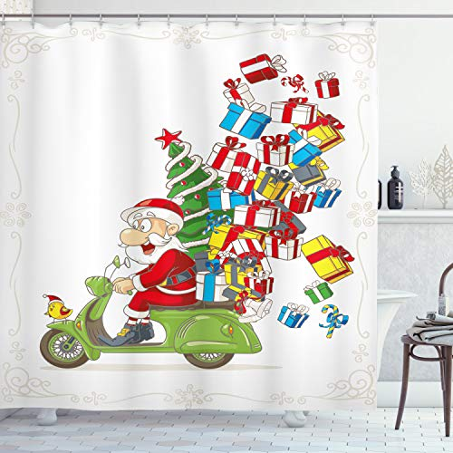 Ambesonne Christmas Shower Curtain, Santa on Motorbike Scooter with Tree and Gifts Funny Cartoon Style Bird, Cloth Fabric Bathroom Decor Set with Hooks, 70 Inches, White Green and Red (On Motorbike Santa)