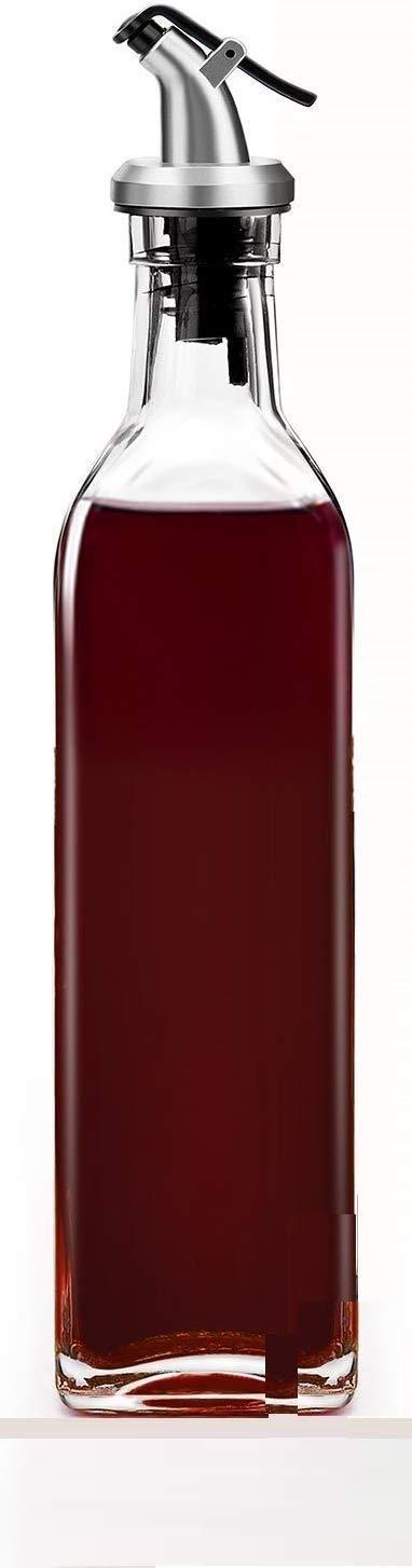 Olive Oil Dispenser Bottle, Vinegar Dispensing Cruets with Capped Spout, Liquid Condiment Container, Glass Decanter for Kitchen – 500 ml