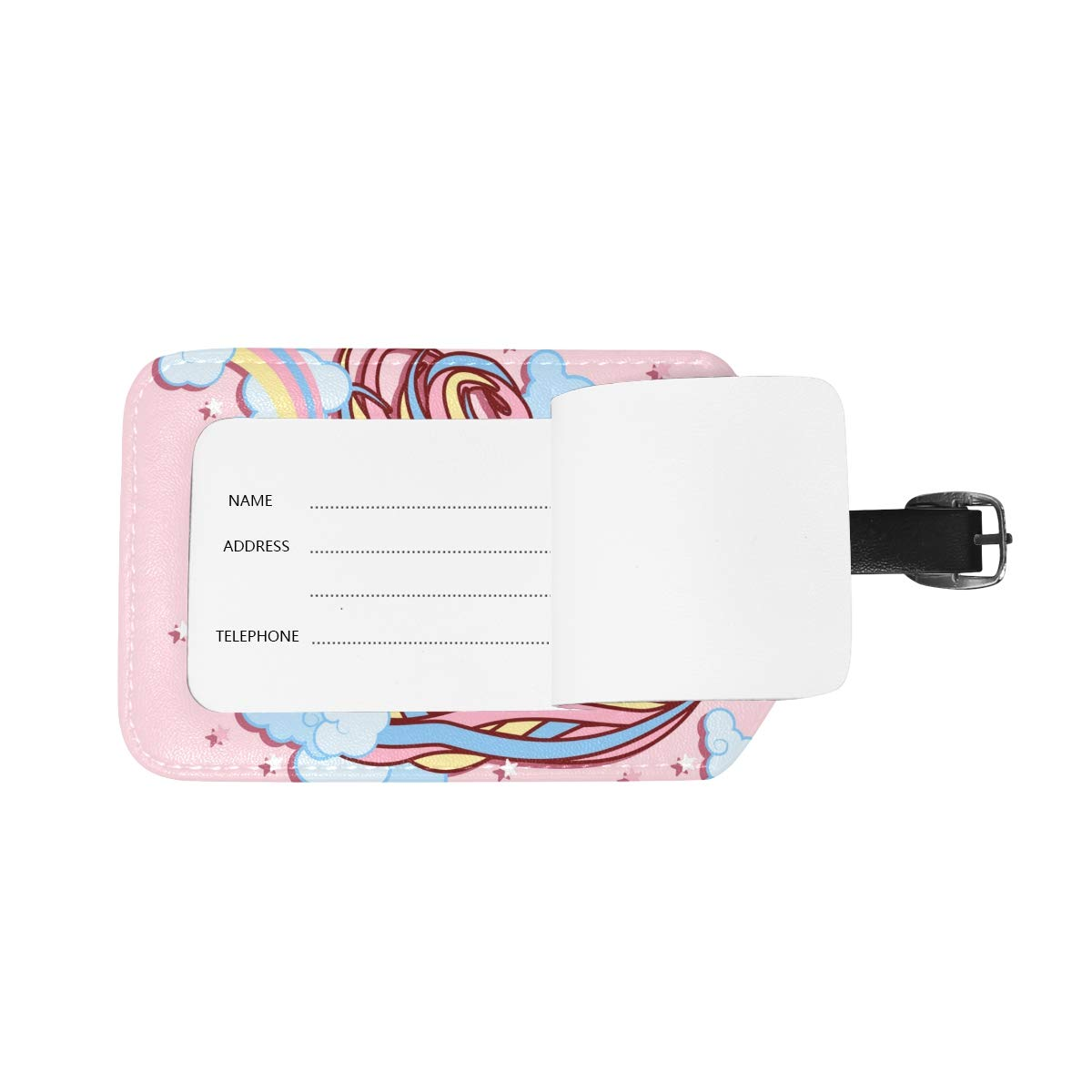 Saobao Travel Luggage Tag Pink Unicorn PU Leather Baggage Travel ID