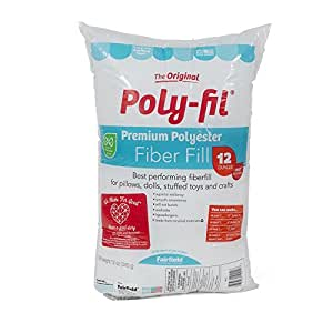 Fairfield PF12A Poly-Fil Premium Polyester Fiber, White, 1 Bag, 12-Ounce