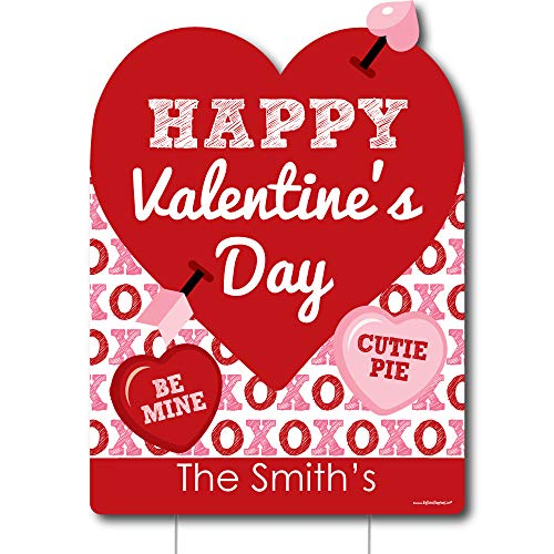 (Big Dot of Happiness Personalized Conversation Hearts - Party Decorations - Custom Valentine's Day Party Welcome Yard Sign)
