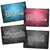 Plastic Photo Booth Prop Signs - Mr. & Mrs. - Thank You - WEDDING