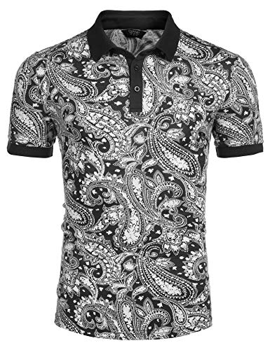 COOFANDY Men's Short Sleeve Polo Shirt Paisley Floral Printed Casual Polo T Shirt Black
