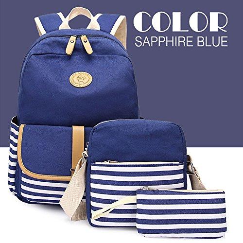 Meiye Casual Leichte Canvas Rucksäcke für Teen Girls Set 3 Stück Laptop Rucksack Schulter Schule Taschen Handtaschen mit Fashion Stripes