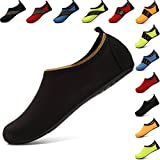 VIFUUR Water Sports Shoes Barefoot Quick-Dry Aqua Yoga Socks Slip-on for Men Women Kids SoidBlack-38/39