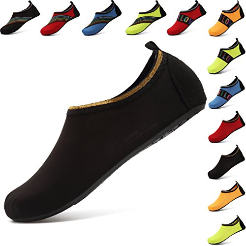 VIFUUR Water Sports Shoes Barefoot Quick-Dry Aqua Yoga Socks Slip-on for Men Women Kids SoidBlack-40/41