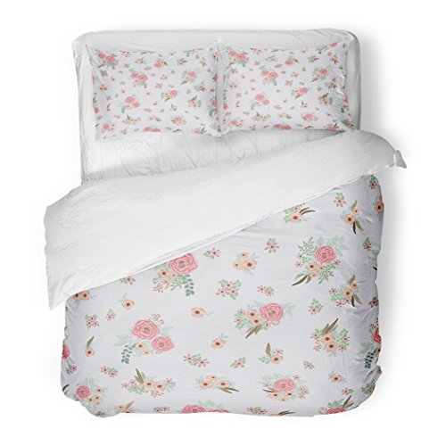 - SanChic Duvet Cover Set Feathers Small Flowers of Antique Roses in Folk Bohemian for Fabrics Floral Boho Chic Decorative Bedding Set with 2 Pillow Shams Full/Queen Size