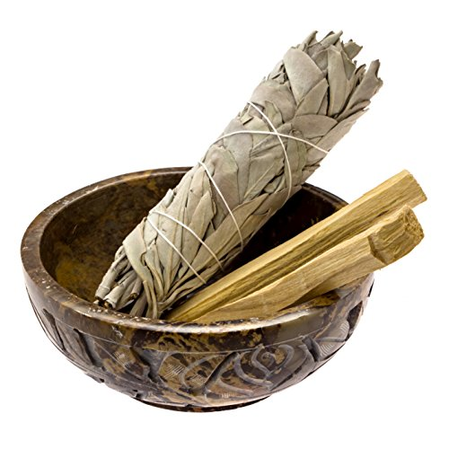 Alternative Imagination Soapstone Smudge Bowl Kit with 1 California White Sage Smudge Stick and 2 Palo Santo Smudge Sticks (Sage Holders)