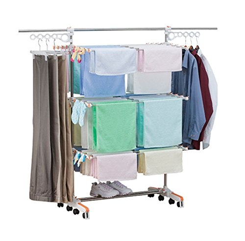 Drying Hanger Laundry Folding 3 Layers Clothes Hanger Rack W
