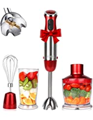KOIOS Powerful 800W 4-in-1 Hand Immersion Blender 12 Speeds, Includes 304 Stainless Steel Stick Blender, 600ml Mixing Beaker, 500ml Food Processor, and Whisk Attachment, Multi-Purpose, BPA-Free, Red