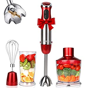 KOIOS 800W 4-in-1 Multifunctional Hand Immersion Blender, 12 Speed, 304 Stainless Steel Stick Blender, Titanium Plated…