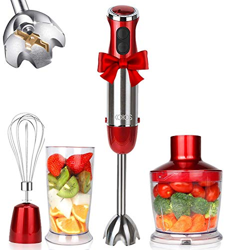 KOIOS-Powerful-800W-4-in-1-Hand-Immersion-Blender-12-Speeds-Includes-304-Stainless-Steel-Stick-Blender-600ml-Mixing-Beaker-500ml-Food-Processor-and-Whisk-Attachment-Multi-Purpose-BPA-Free-Red