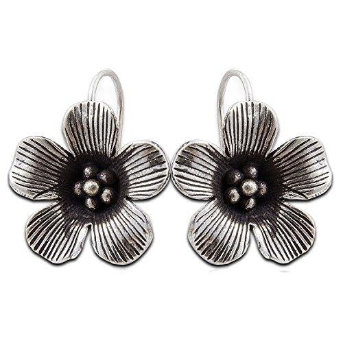Cool flower Karen Hill tribe Design Leaf Earring silver