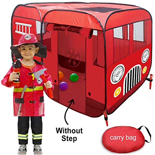 WOOHOO TOYS Big Fire Truck Tent - Spacious Indoor & Outdoor Playhouse Tent for Kids, Toddlers, Boys, Girls and Children to Pretend Play as Fireman Sam - Crib Bed Can Fit Inside This Pop Up Play Tent