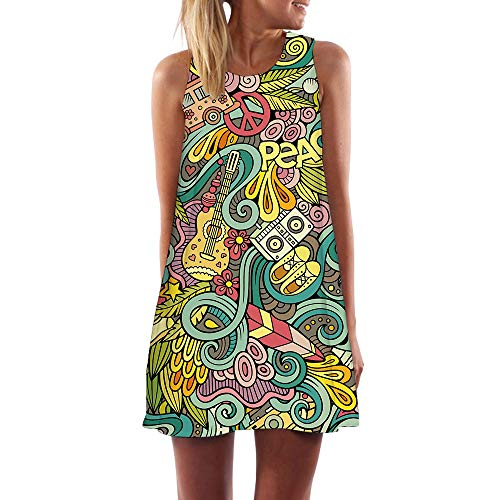 KYKU Violin Dress for Women Retro Abstract Trend 3D Print Dresses for Women (Large) ()