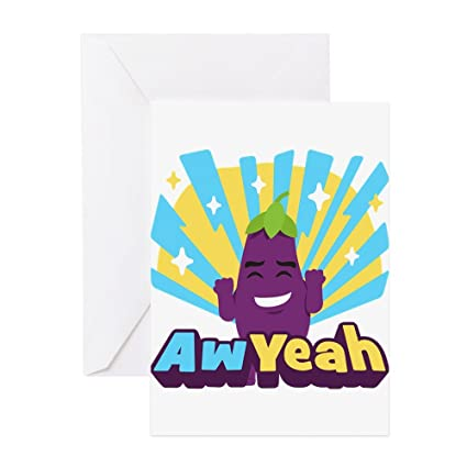 CafePress Emoji Eggplanta Aw Yeah tarjeta de felicitación ...