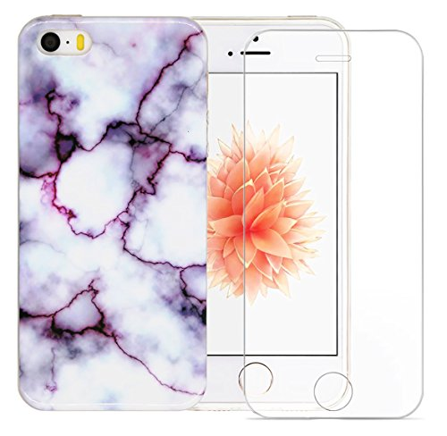 Iphone SE Case, A-Focus Marble Design Sofr Gel TPU Cover Case and Tempered Glass Screen Protector for Iphone 5s / 5 / SE (Purple)