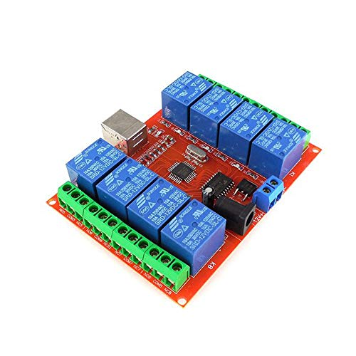 - HW-554 A198 DC 12V 8 Channel Relay Module Computer USB Control Switch Free Drive Relay Module PC Intelligent Control - Red