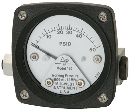 Mid-West 120-SA-00-O(CA)-30P Differential Pressure Gauge with 316 Stainless Steel Body and Stainless Steel Internals, 1 Switch in Standard NEMA 4X Enclosure, Piston Type, 3/2/3% Full Scale Accuracy, 2-1/2'' Dial, 1/4'' FNPT Back Connection, 0-30 psid Range, by Mid-West Instrument