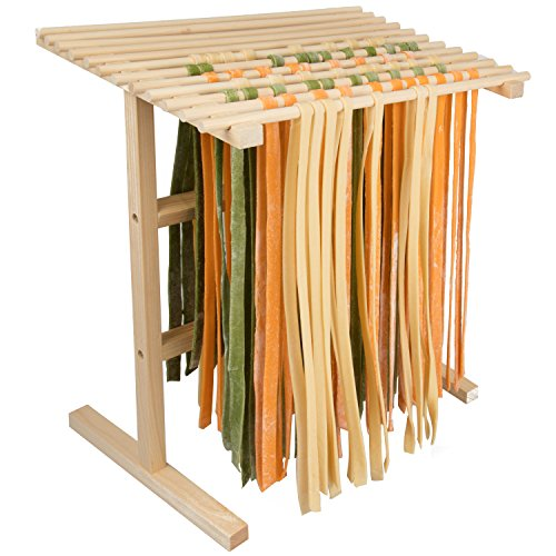 Pasta Drying Rack by Cucina Pro- All Natural Wood Construction- 12 Feet of Drying Space Folds Flat for Storage