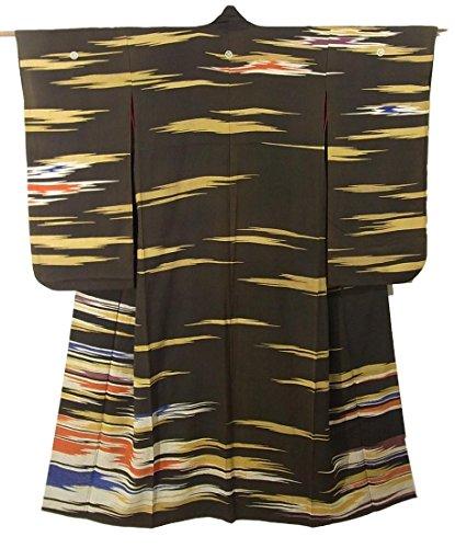 小康結果として毎月アンティーク 着物  霞のような文様 踊りの着物 裾引 正絹 裄64.5cm 身丈167cm