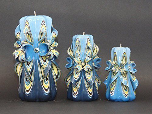 Candle set - Blue and Yellow - Bright colors - Decorative carved candle - EveCandles by EveCandles