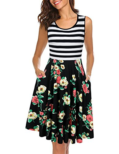 (UXELY Flare Floral Contrast Swing Dress,Women Comfy Daily Dresses,Black White L)