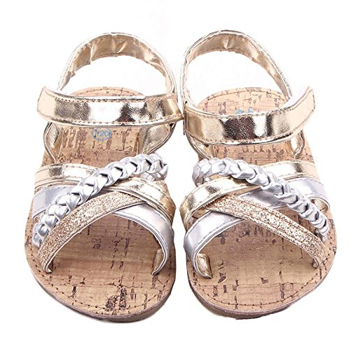 Babyschuhe Longra Baby Outdoor Sandalen Kleinkind Prinzessin erste Wanderer Mädchen Kind Lauflernschuhe Krippeschuhe (0 ~ 18 Monate) Gold