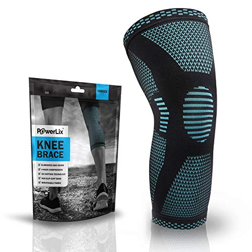 POWERLIX Compression Knee Sleeve - Best Knee Brace for Men & Women - Knee Support for Running, Crossfit, Basketball, Weightlifting, Gym, Workout, Sports - for Best FIT Check Sizing Chart
