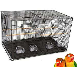 Mcage Lot of Breeding Bird Flight Cages for Canary Parakeet Aviaries Budgies Lovebird Finch (Large 30 Black Divider) (Color: Large 30 Black Divider)
