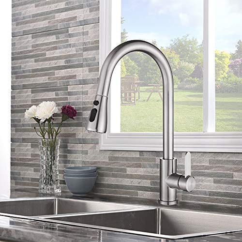 Kitchen Sink Faucet, 3 in 1 Pull Out Sprayer, 304 Brushed Nickel High Arc Touch 360°Mix Water Faucet, Lead-Free Spot and Rust Resist Stainless Steel, Single Handle Pull Down Water Tap (Best Kitchen Sink Taps)