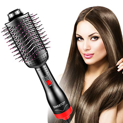 SWEETOP Hair Dryer Brush, One Step Hair Dryer & Volumizer 3-in-1 Dryer, Straightener, Curler Hot Air Comb with Ceramic Anti-Scald Negative Ionic Technology Frizz-Free for All Hair Types