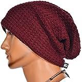 Mens Slouchy Long Oversized Beanie Knit Cap for Summer Winter B08 (Claret)