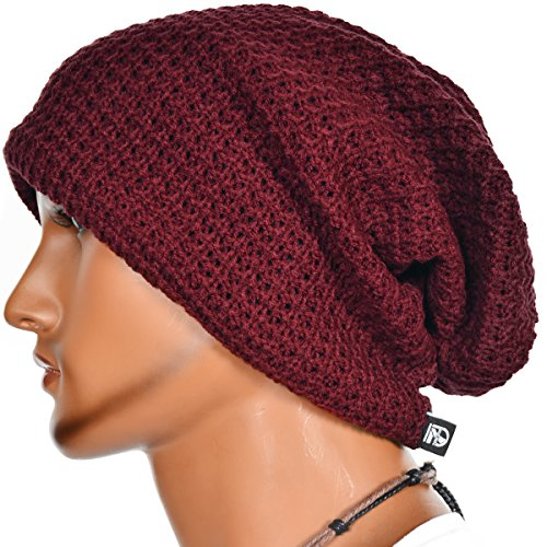 Mens Slouchy Long Oversized Beanie Knit Cap for Summer Winter B08 (Claret) (Hipster Mens)